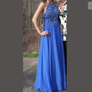 Jovani beaded top royal blue long formal dress.